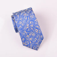 """Blue Floral Roses 3"""" Skinny Tie 7.5cm Woven Necktie Stylish Formal Party Fashion"""