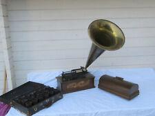 Edison Home Phonograph mit Trichter und Koffer mit ca. 20 Walzen um 1900 (ES13)