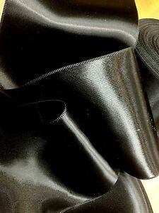 """Vintage Double Sided 4"""" Rayon Black Satin Ribbon Made in France"""