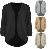 Womens Ladies Cape Cardigan Ribbed Knitted Batwing Open Front Poncho Sweater