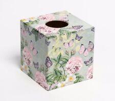 Botanical Flowers Tissue Box Cover wooden decoupaged handmade UK
