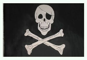 5x8 Jolly Roger Pirate with Patch Polyester Flag Banner (150 Denier) Grommets