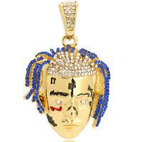 """14k Gold PT HipHop Rapper Face Exquisite Tentacion R.I.P Pendant 24"""" Cuban Chain"""