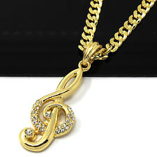 "Mens 14k Gold Plated Hip-Hop Long Music Note 30"" Cuban Link Chain Necklace D812"