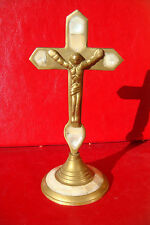 OLD BEAUTIFUL BRONZE WITH MOTHER OF PEARL CROSS CRUCIFIXE
