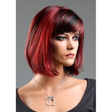 Perücke Wig Damen Weiblich Haar Schwarz+Rot Kurz Glatt Haarteil Frau Lang 30cm
