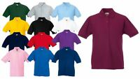 Fruit Of The Loom Childrens Kids Girls Boys 65/35 Pique Polo Shirts T-shirt Tee