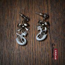 Boucles d'Oreilles Noeud Papillon Email Cygne Blanc Mimi Original Cadeau EE 4