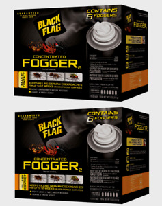2 Black Flag Indoor CONCENTRATED FOGGER Bomb Kill Roaches Bugs Fleas 6pk HG11079