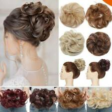100% Natural Thick Messy Ponytail Scrunchie Rose Bun Hair Extensions Curly Wavy
