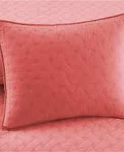 """ONE Martha Stewart Basket Stitch CORAL Cotton Standard Pillow Sham 21"""" x 27"""" NEW"""