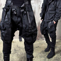 NewStylish Mens Casual Fashion Techwear multiple buckled strap coated baggy pant
