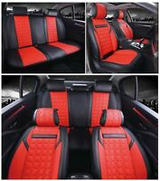 Deluxe Red Black PU Leather Full Set Seat Covers For Audi A4 A6 A8 Q7 Q5 S-Line