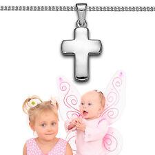 Kinder Baby Taufe Kreuz Anhänger Weißgold Echt Gold 585 mit Kette Silber 925