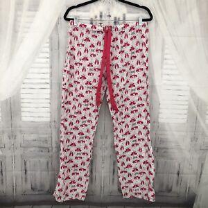 Victorias Secret PINK Size S/P Small Pajama Pants White Kiss Me Animals Love B38