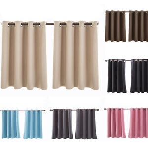 2PC Thermal Insulated Eyelet Foam Lined BLOCKOUT Short Valance Window Curtains