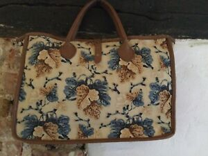 1980s Vintage Colefax & Fowler Fabric & Leather Work Bag/Briefcase/Laptop Bag