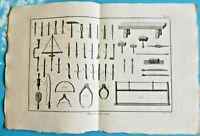 1784 Estampe Eau Forte Architecture gravure marteau Burin scie Marbrerie Outils