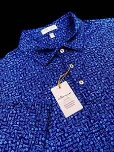 Peter Millar Crown Sport Summer Comfort Polo Bottle Opener Print Blue Size L XL