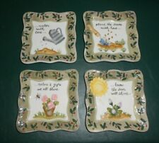 New ListingMww Market Mini Collector Plates Square Set of 4 Nature's Gifts Plant the Seeds