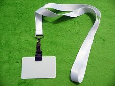 5 x White Lanyard with Metal Clip, 5 ID Card with Grip,Suitable for Sublimation