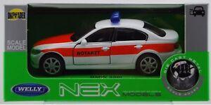 WELLY BMW 330i EMERGENCY 1:34 DIE CAST METAL MODEL NEW IN BOX NOTARZT