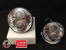 Land Rover Defender 90 110 Pair CHROME Lynx LED DRL Headlights DOT E9 MARKED