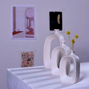 New Modern White Ceramic Flower Pot Vase Abstract Nordic Creative Ornament Decor