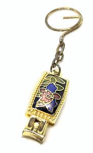 Cloisonne Flower Nail Clipper Key Chain Vintage