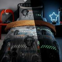 Glow in the Dark Duvet Covers Grey Gamer Teens Quilt Cover Bedding Sets