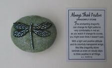 z D blue on green Always Think Positive dragonfly stone ganz