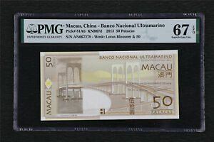 2013 Macau China-Banco Nacional Ultramarino 50 Patacas Pick#81Ab PMG 67 EPQ UNC