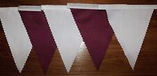 BIANCO & Borgogna tessuto Bunting Decorazione Festa Matrimonio 6.8mtr compra 3 paghi 2