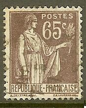 "FRANCE TIMBRE STAMP N°284 ""TYPE PAIX, 65 C VIOLET BRUN"" OBLITERE TB"