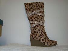 Joan Boyce Caroline WIDE CALF Silvertone Wedge LEOPARD Boots 7W new