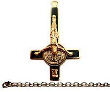 PETRUS CROSS + CHAIN 24k Satanic Vintage Pendant Amulet Necklace Spiritual Jewel