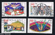 GERMANIA 4 FRANCOBOLLI PRO GIOVENTU IL CIRCO 1989 usato