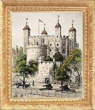 TOWER OF LONDON Dollhouse Picture FRAMED Miniature Art - MADE IN AMERICA