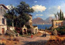 Oil painting Carl Gustav Rodde - An Italian Village by a Lake dusk landscape