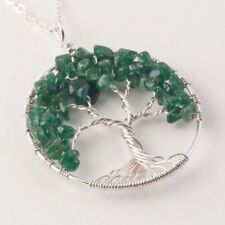 Tree Of Life Natural Stone Green Aventurine Quartz Twist Necklace Silver Plated
