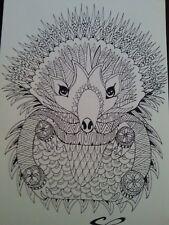 dessin à l'encre d'un hérisson stylisé