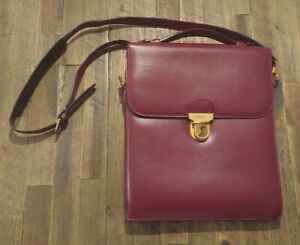 """Bally Leather Document Bag with Shoulder Strap - Burgundy: 10.5"""" × 12"""""""