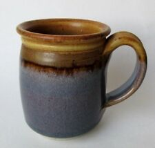 Studio Pottery Coffee Mug Cup Signed by Artist Purple, Tan and Brown Hand Thrown
