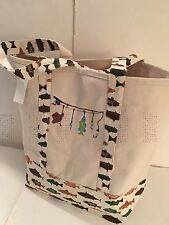 LARGE FISHING CANVAS beach cotton beige tote bag EMBROIDERED GREEN OUTDOORS NEW