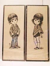 BIG EYES by LEE Hippie Boy & Girl 1960's 1970 Soroka Litho Set of 2