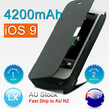For iPhone 5/5S 4200 mAh Portable External Back Battery Charger Flip Case Power