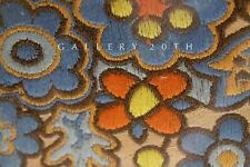 ART NOUVEAU FLOWERS TEXTILE! ORANGE BLUE VTG 1900'S TAPESTRY DECORATOR INTERIORS