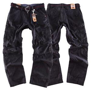 Timezone Herren Hose Cargo Jeans Benito Tz schwarz black + Gürtel Neu Clubwear