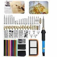 71Pcs Pyrography Kit Wood Burning Pen Set 110V 60W Stencil Soldering Tips Tools
