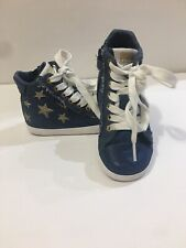 Denim Geox Girl Toddler Shoes Size 8.5 / 25 Blue Zipper Laces Stars Gold